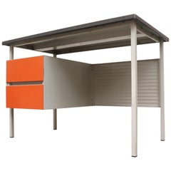 Gispen 3803 Industrial Writing Desk with Orange Drawers
