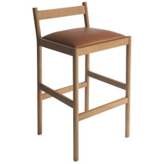 Carob Bar Stool by Sun at Six, Sienna Minimalist Stool in Oak Wood and Leather