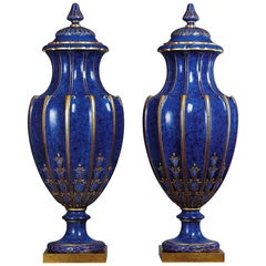 Pair of Lapis Lazuli Ground Sèvres Porcelain Vases and Covers, circa 1880