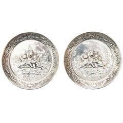 German Silver Plate Putti and Foliage Coasters