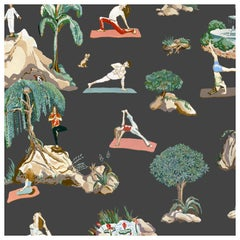 Forest Yoga Wallpaper Natural on Charcoal Color Way on Smooth Paper