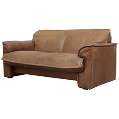 Handsome Leolux Buffalo Leather Loveseat
