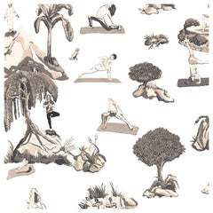 Forest Yoga Wallpaper Sepia Color Way on Smooth Paper