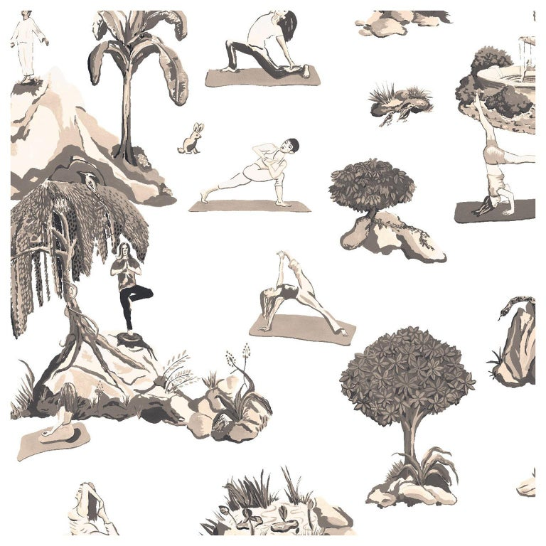 Forest Yoga Wallpaper Sepia Color Way on Smooth Paper For Sale