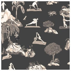 Forest Yoga Wallpaper Sepia on Charcoal Color Way on Smooth Paper