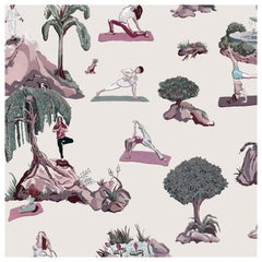Forest Yoga Wallpaper Overcast Color Way on Smooth Paper
