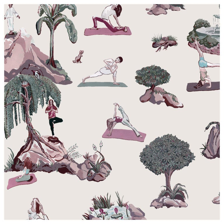 Forest Yoga Wallpaper Overcast Color Way on Smooth Paper For Sale