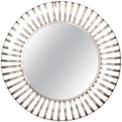 Mid-Century Modern Large Round Mirror, circa 1980s