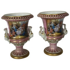 20th Century Pair of Sevres Porcelain Urns, Campana Shaped, Gilt Decoration