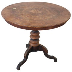 19th Century Italian Walnut Inlay Round Center Table or Pedestal Table
