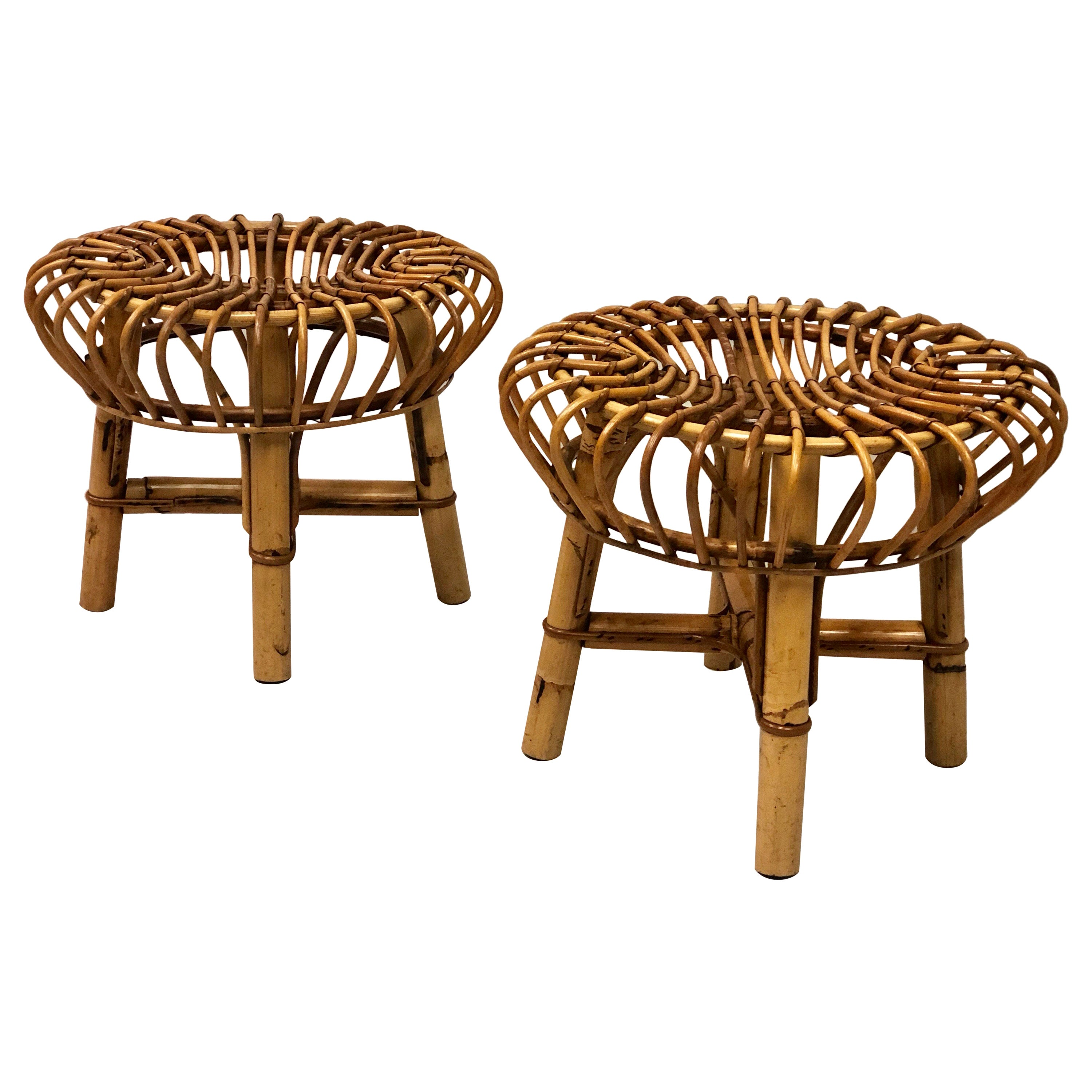 Pair of Italian Mid-Century Modern Rattan and Bamboo Stools by Franco Albini