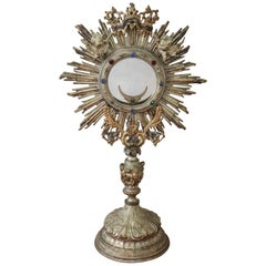 19th Century Italian Sicilian Baroque Style Monstrance Decorated with Cherub