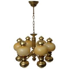 Brass Art Deco Style Chandelier, 1960s