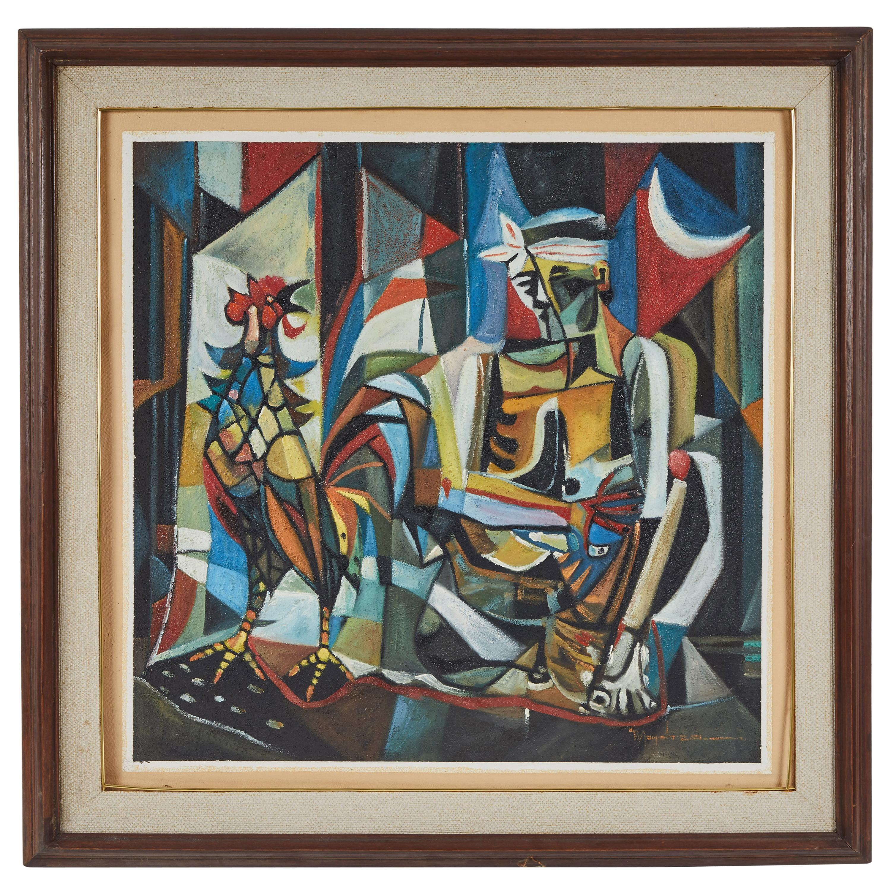 """Modern Oil on Canvas Cubist """"Boy with Rooster"""" Painting"""