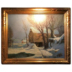 Barn in Moonlight by Frederick John Mulhaupt  American Oil Canvas antiques LA CA