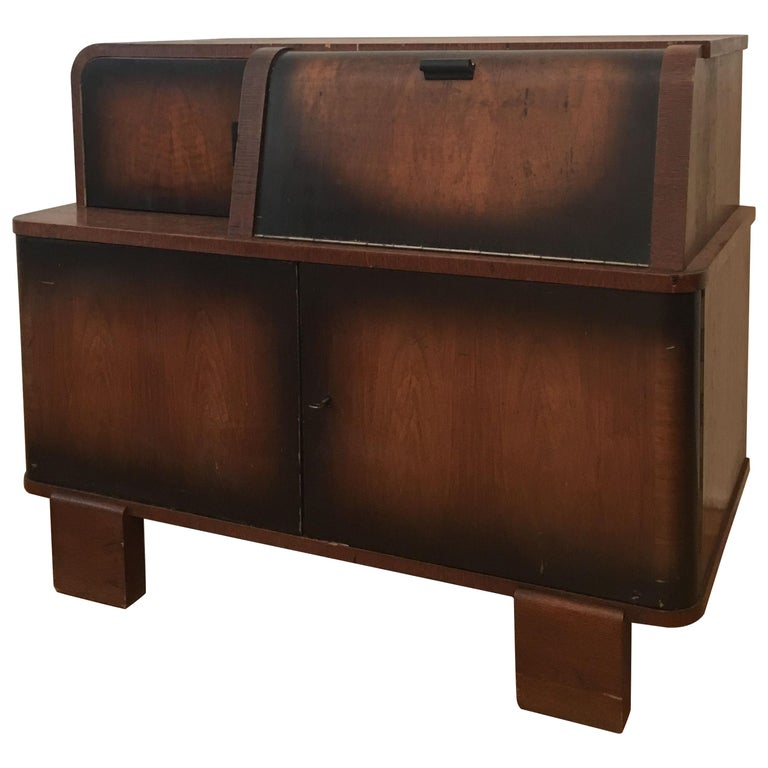 Record Player Cabinet by Jindrich Halabala for Up Zavody, Czechoslovakia, 1930s For Sale