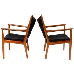 Pair of Mahogany Lounge Chairs by Hans J. Wegner for Johannes Hansen