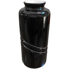 De Majo Mid-Century Modern Black and White Murano Glass Vase, circa 1970