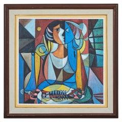 Modern Oil on Canvas Cubist Portrait