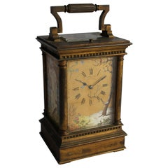 19th Century French Brass Carriage Clock with Roman Numerals