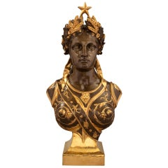 French 19th Century Neoclassical Style Bronze and Ormolu Bust of Athena