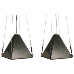 Vintage Pair of Industrial Pyramid Shape Iron Pendant Lights, Italy, 1950s