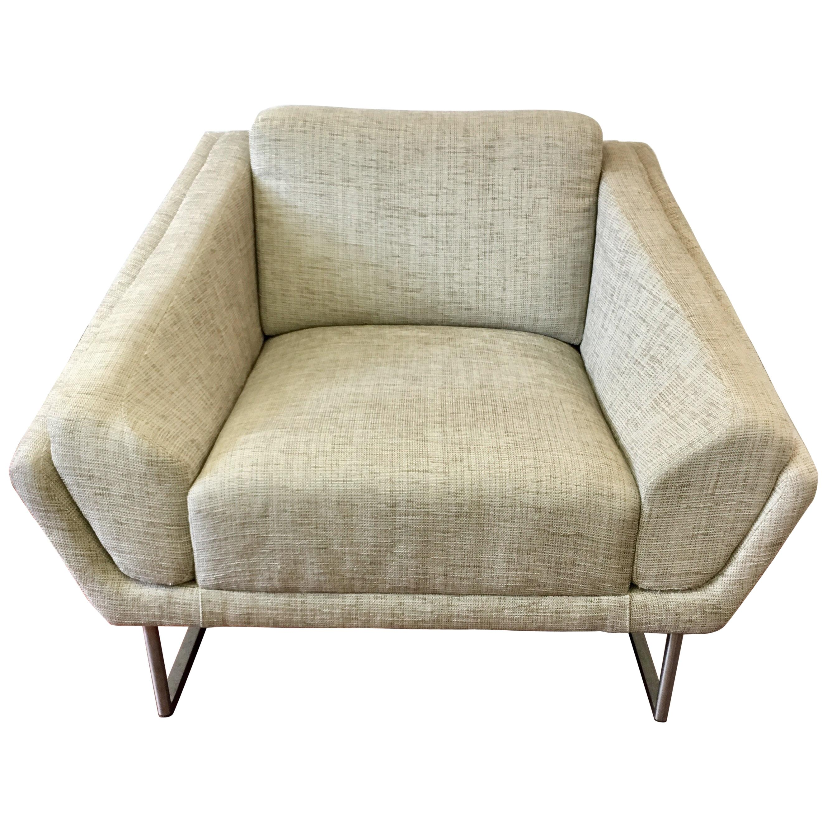 Set of Four HBF Barbara Barry Hickory Architectural Curved Lounge Chairs