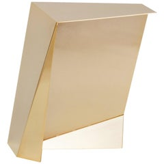 Perseus, Contemporary side table, Golden stainless steel