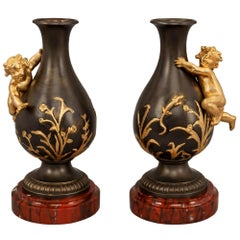 Pair of French Louis XVI Style Bronze and Ormolu Vases, Attributed to Moreau