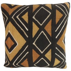 Vintage Yellow Graphic African Artisanal Textile Mud Cloth Decorative Pillow