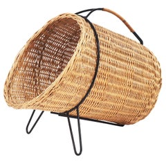 1950s Basket for Firewood or Magazines in Metal and Rattan from Sweden