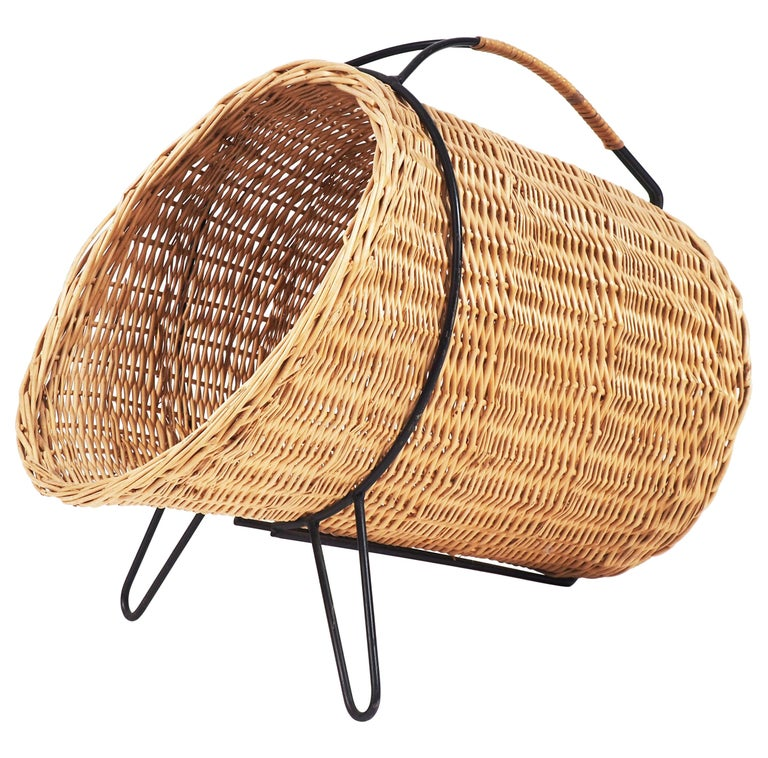 1950s Basket for Firewood or Magazines in Metal and Rattan from Sweden For Sale