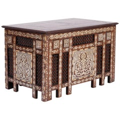 Anglo-Indian or Syrian Rectangular Inlaid Coffee Table