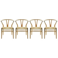 Set of 4 Hans Wegner CH24 Wishbone Chairs for Carl Hansen
