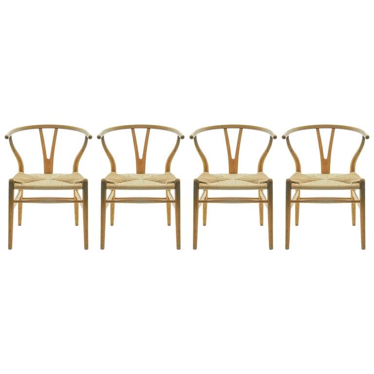 Set of 4 Hans Wegner CH24 Wishbone Chairs for Carl Hansen For Sale