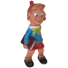 1960s Vintage Italian Pinocchio Rubber Squeak Toy Made by Rubbertoys