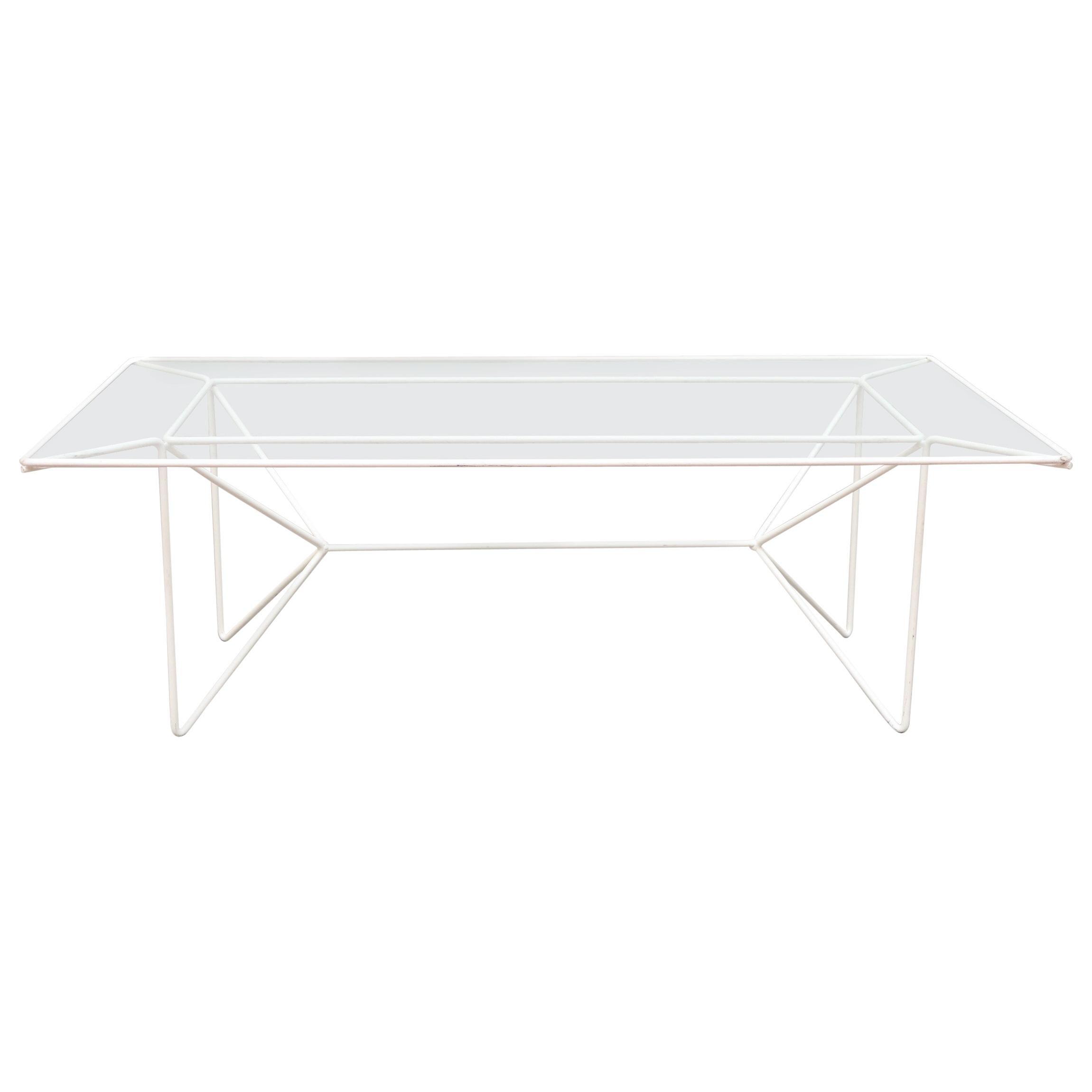 A. Bueno de Mesquita Inspired White Wire Coffee Table