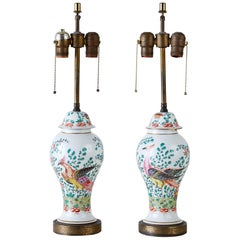 Pair of English Chinoiserie Painted Porcelain Ginger Jar Lamps