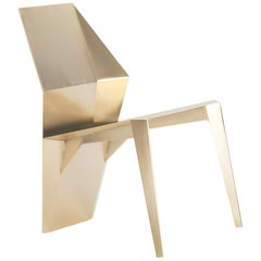 Centaurus, Contemporary Chair, Golden Stainless Steel