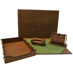Luxurious Vintage Gucci Leather 4-Piece Desk Set