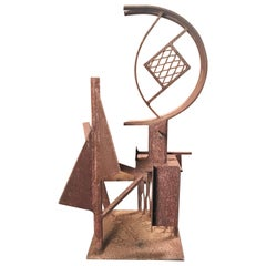 """Abstract Metal Garden Sculpture """"Titled"""", The Flying D"""