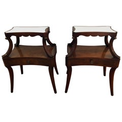 Pair of Fine Grosfeld House Crotch Mahogany Two-Tier Nightstands End Side Tables