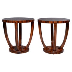 Pair of Art Deco Style Palisander Round Side Tables