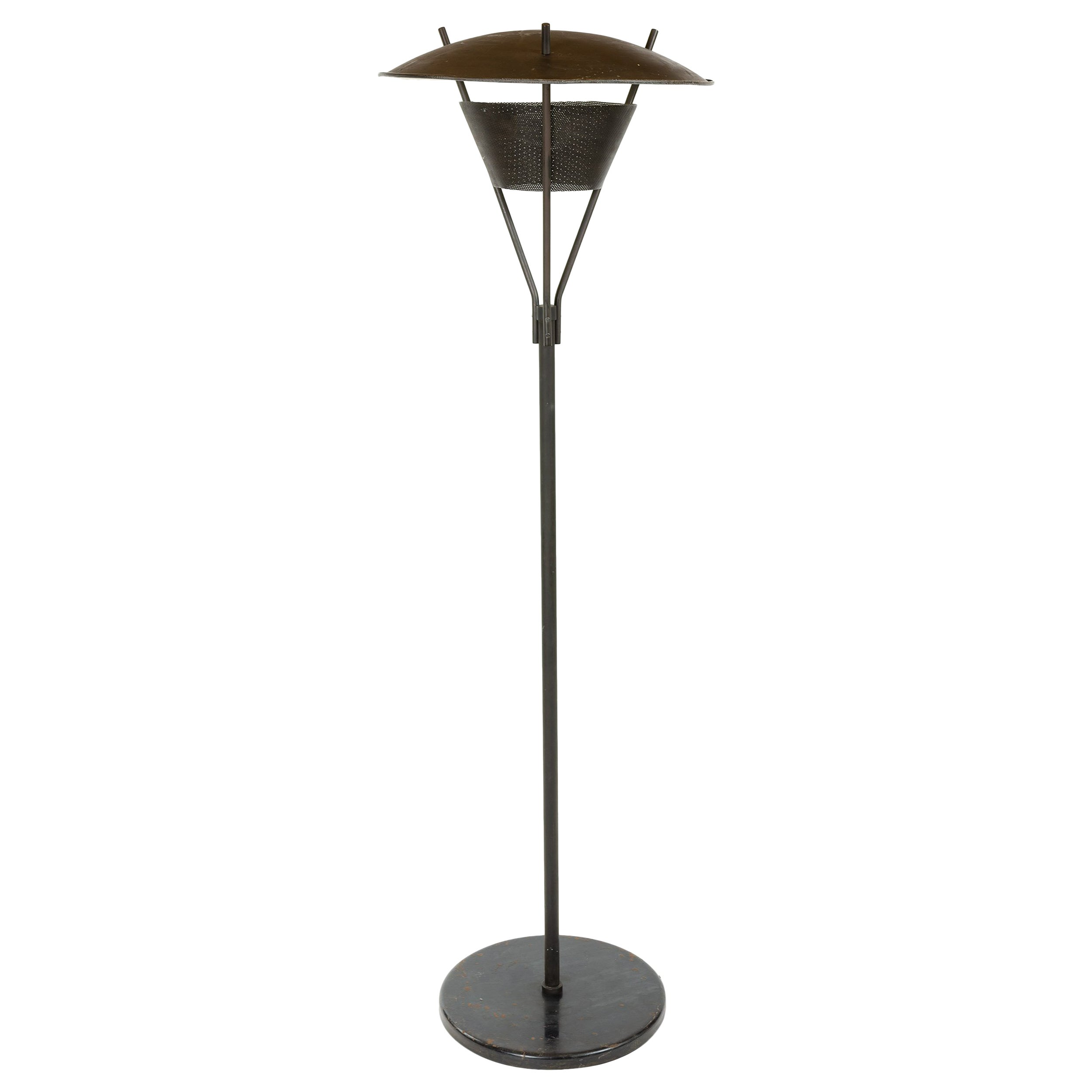 1950s Black Enameled Steel & Brass Floor Lamp by Gerald Thurston for Lightolier