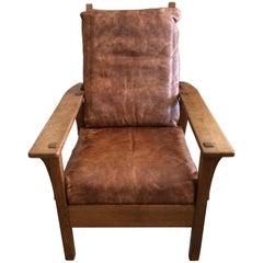 Classic Arts & Crafts Oak and Leather Club Chair