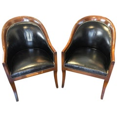 Pair of Black Leather & Mahogany Club/ Barrel, Side Chairs by Schmieg & Kotzian