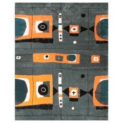 Mid-Century Modern Geometric Orange and Gray Wool Rug