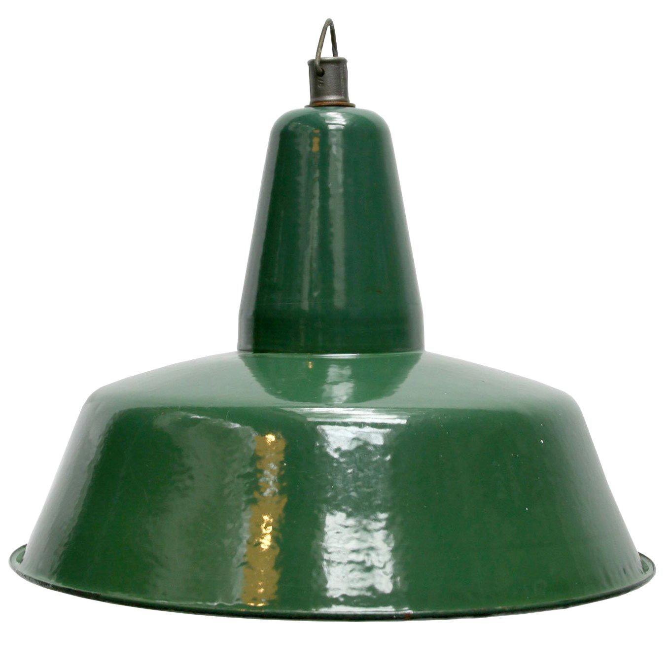 Vintage Industrial Green Enamel Industrial Pendant Lights