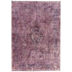 Vintage Distressed Overdyed Purple Wool Rug