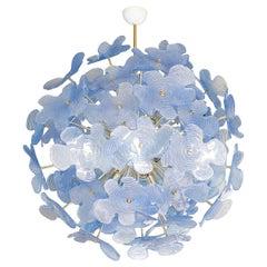 Monumental Glass Flower Chandelier